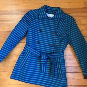 Coach Navy/Jade Striped Short Trench Coat